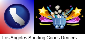 Los Angeles, California - a sporting goods shopping cart
