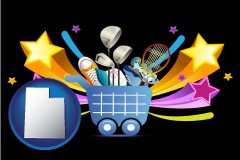 utah map icon and a sporting goods shopping cart